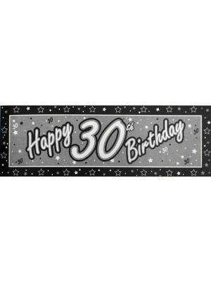 Creative Party Black Giant Banner - 30th