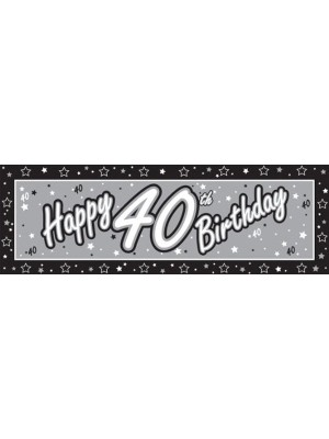 Creative Party Black Giant Banner - 40th