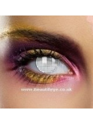 EDIT Crazy White Mesh Contact Lenses