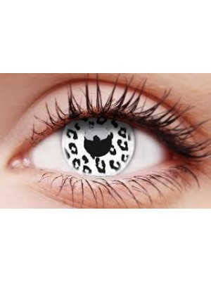 UV Glow White Leopard Crazy Colour Contact Lenses (1 Year)