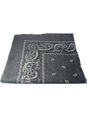 Dark Grey Paisley Bandana Head Scarf