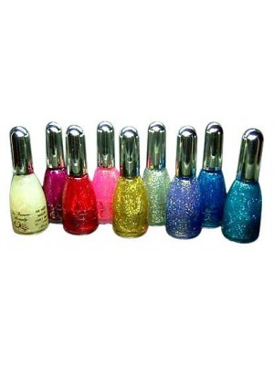 La Femme Set of 9 Nail Polish In The Glitter Collection Set Tray 10