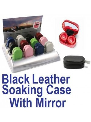 Black Leather Contact Lens soaking Case With Mirror
