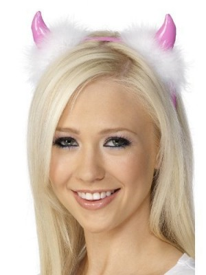 Fancy Dress Pink Devil Horns With White Fluffy Finish