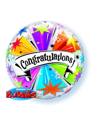Qualatex 22 Inch Single Bubble Balloon - Congratulations Banner