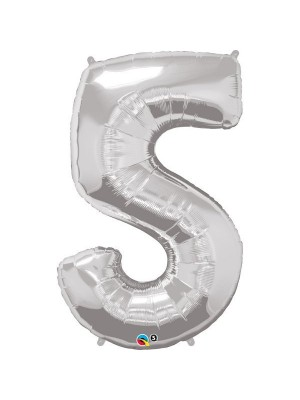 Qualatex 34 Inch Number Balloon - Five Silver