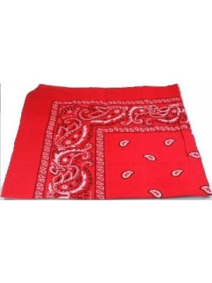 Red Paisley Bandana Head Scarf 100% Cotton