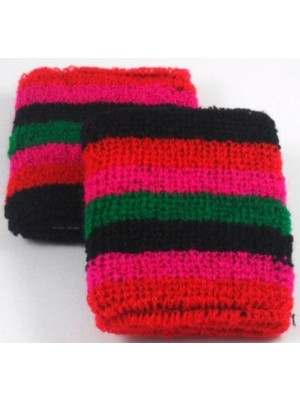 Green Black Red Pink Striped Design Sweatband