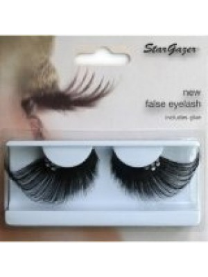 Stargazer Reusable False Eyelashes ExtraLong Black & Diamonte 63