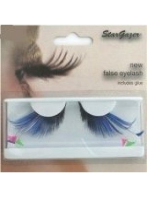 Stargazer Reusable False Eyelashes Blue,Pink & Green Feathers 62