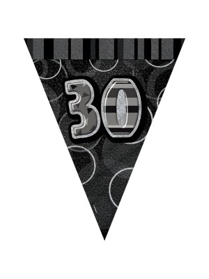 Unique Party Black-Silver Pennant Bunting - 30
