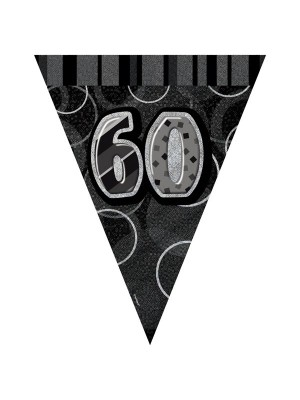 Unique Party Black-Silver Pennant Bunting - 70