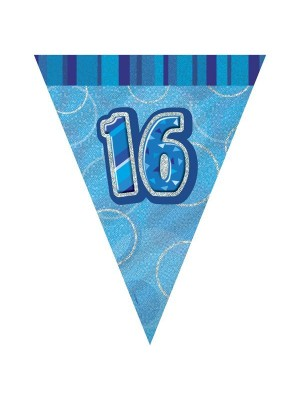 Unique Party Blue Pennant Bunting - 16