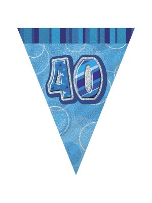 Unique Party Blue Pennant Bunting - 40