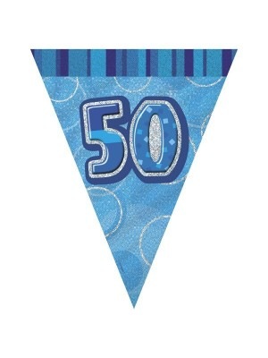 Unique Party Blue Pennant Bunting - 50
