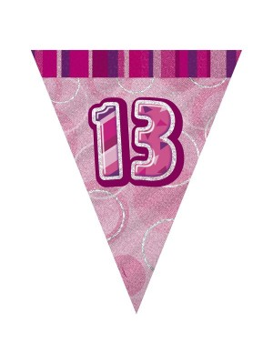 Unique Party Pink Pennant Bunting - 13
