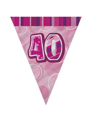 Unique Party Pink Pennant Bunting - 40