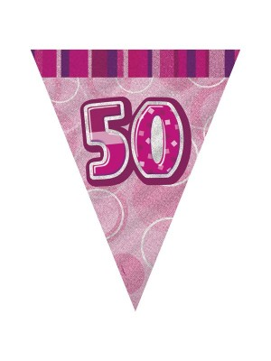 Unique Party Pink Pennant Bunting - 50