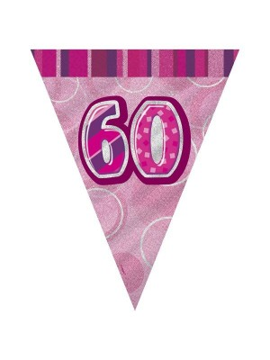 Unique Party Pink Pennant Bunting - 60