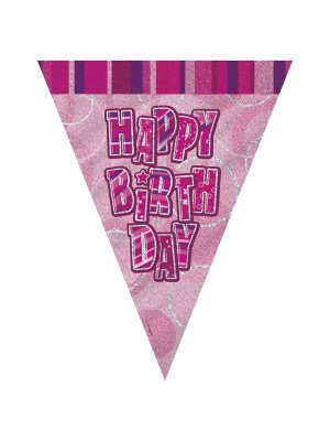 Unique Party Pink Pennant Bunting - Birthday
