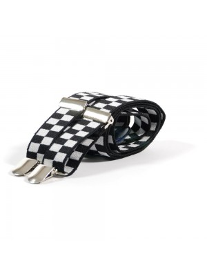 Unisex Printed Black & White Chequered Fashion Braces
