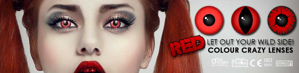 red contact lenses. Vampires and all things red these lenses are terrifying.